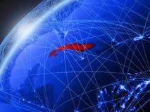 Cuba su terra blu con la rete illustrazione vettoriale