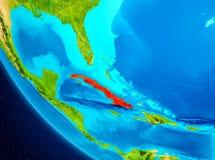 Cuba sul globo da spazio illustrazione vettoriale