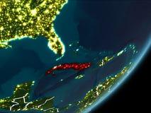 Cuba sulla terra di notte royalty illustrazione gratis