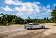 Cuba taxi at a rest area near Havana Royalty Free Stock Photography