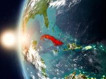 Cuba tijdens zonsondergang ter wereld stock illustratie