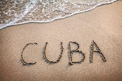 Cuba title on the sand Stock Images