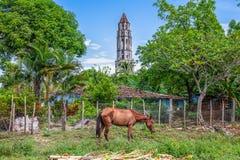 Cuba, torre della proprietà di Manaca Iznaga nella valle de los Ingenios, immagine stock libera da diritti