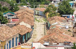 Cuba tourism: Trinidad de Cuba in Sancti Spiritus. Cuba tourism: Trinidad views from the Convent of Saint Assisi tower or Church in Main Plaza which currently Stock Photography