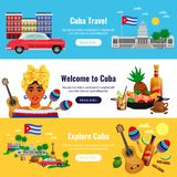 Cuba Travel Banners Set vector illustration