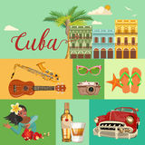 Cuba travel colorful banner concept. Cuban beach resort.  Welcome to Cuba. Circle shape. Vector illustration with Cuban culture. Cuba travel colorful banner Royalty Free Stock Photography