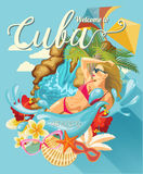 Cuba travel colorful card concept. Beach resort.  Welcome to Cuba. Circle shape. Vector illustration with Cuban culture Stock Photo