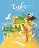 Cuba travel colorful card concept. Cuban beach resort.  Welcome to Cuba. Circle shape. Vector illustration with Cuban culture Stock Image