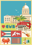 Cuba travel colorful card concept with Cuban flag. Vintage style. Vector illustration with Cuban culture Royalty Free Stock Photos