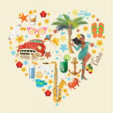 Cuba travel colorful card concept. Heart shape. Vintage style. Vector illustration with Cuban culture. Cuba travel colorful card concept. Heart shape. Vector Royalty Free Stock Photo