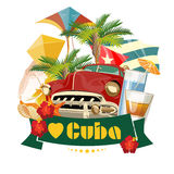 Cuba travel colorful card concept. I love Cuba. Vintage style. Vector illustration with Cuban culture. Cuba travel colorful card concept. I love Cuba. Vector stock illustration