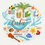 Cuba travel colorful card concept. Welcome to amazing Cuba. Circle shape. Vector illustration with Cuban culture. Cuba travel colorful card concept. Welcome to stock illustration