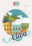Cuba travel colorful poster concept with Cuban flag. Vintage style. Vector illustration with Cuban culture Royalty Free Stock Photo