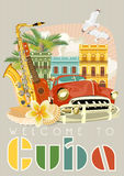 Cuba travel colorful poster concept. Welcome to Cuba. Vector illustration with Cuban culture. Cuba travel colorful poster concept. Vector illustration with Cuban Stock Images