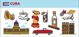 Cuba travel destination promotional poster with country symbols Stock Photo