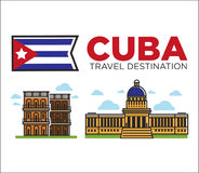 Cuba travel famous landmarks and sightseeing vector Havana icons Stock Image