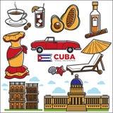 Cuba travel sightseeing icons and vector Havana landmarks Stock Photo