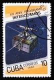 Cuba van 20ste verjaardag van Intercosmos-programmakwestie toont ruimtesatelliet, circa 1987 Stock Foto's