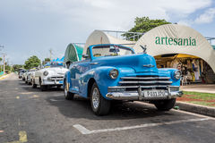 Cuba Varadero vintage cars parked lined up Stock Images