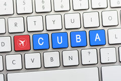 CUBA writing on white keyboard with a aircraft sketch Royalty Free Stock Images