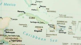 Cuba y Jamaica en un mapa con defocus ilustración del vector