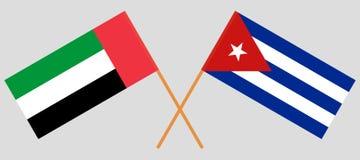 Cuba y United Arab Emirates El cubano y banderas de los UAE Colores oficiales Proporci?n correcta Vector ilustración del vector