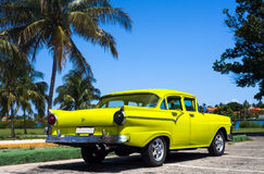 Cuba yellow classic cars in havana Stock Photo