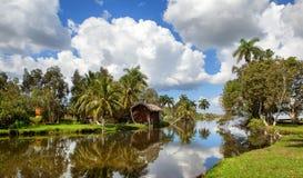 Cubaans dorp op de rivier stock foto's