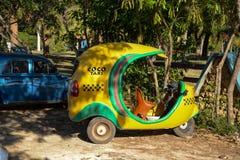 Cubaanse cocotaxi op strand in Cuba Stock Fotografie