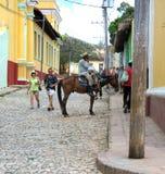 Cubaanse Cowboy op Paard Stock Foto