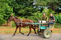 Cubaanse landbouwers die een door paarden getrokken vervoer berijden royalty-vrije stock foto