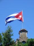 Cubaanse Vlag in de wind Stock Foto