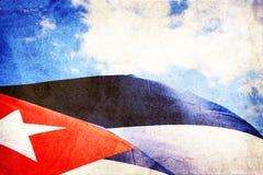 Cubaanse vlag die in de wind golft Royalty-vrije Stock Afbeelding