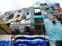 CUBAANSE VLAG, MUURkunst, CALLEJON DE HAMEL, HAVANA, CUBA Royalty-vrije Stock Foto