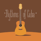 Cuban acoustic guitar vector illustration. Travel to Cuba design element with traditional music instrument vector illustration