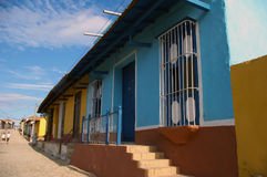 Cuban Alley colorful colonial. View of a typical street of Spanish colonial architecture in Cuba royalty free stock image