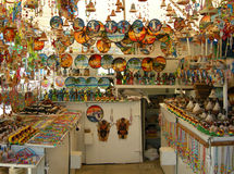 Cuban arts and crafts. Colorful cubar traditional arts and crafts tent in outdoor market stock photo