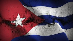 Cuba grunge dirty flag waving on wind. Cuban background fullscreen grease flag blowing on wind. Realistic filth fabric texture on windy day Stock Photo