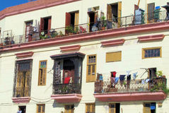 Cuban Balcony. Wrought iron balconies on building in Havana Royalty Free Stock Photo
