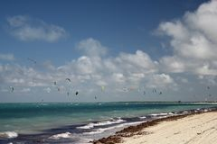 Cuban beach. A place with ideal conditions for kite surfing royalty free stock photo