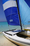 Cuban beach and saling boat Stock Photo