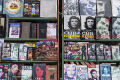Cuban books in Havana. Detail of a series of cuban books, for sale at the second-hand book market in Plaza de Armas, Old Havana royalty free stock photography