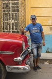 Cuban cab driver making thumbs up Havana stock photos