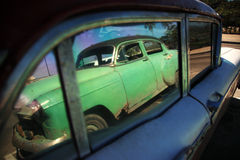 Cuban car reflection Royalty Free Stock Images