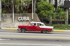 Cuban car running in Havana. A classic american car from the 50's, running in the streets of Havana royalty free stock photography