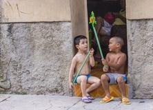 Cuban children in Havana street Royalty Free Stock Photography
