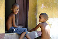 Cuban children on the street royalty free stock images