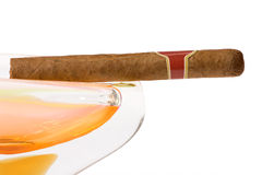 Cuban cigar in ashtray Royalty Free Stock Photo