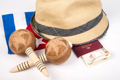 Cuban cigar and hat. Cuban hat with cigars and passport Stock Photos