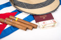 Cuban cigar and hat. Cuban hat with cigars and passport royalty free stock image